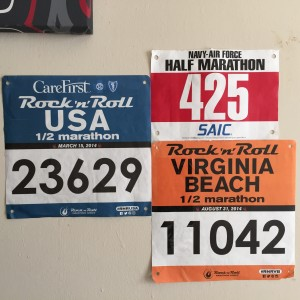 My bibs of the half-marathons I've ran so far.