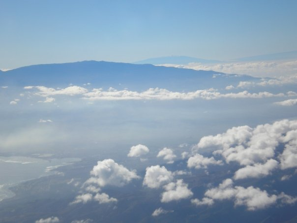 View of Mt. Haleakala. Mauna Kea on the island of Hawaii is off in the distance.