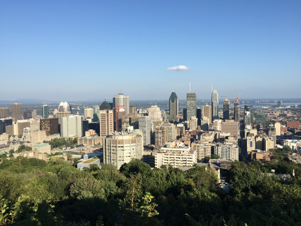 View of Montreal from Mount Royal Park.