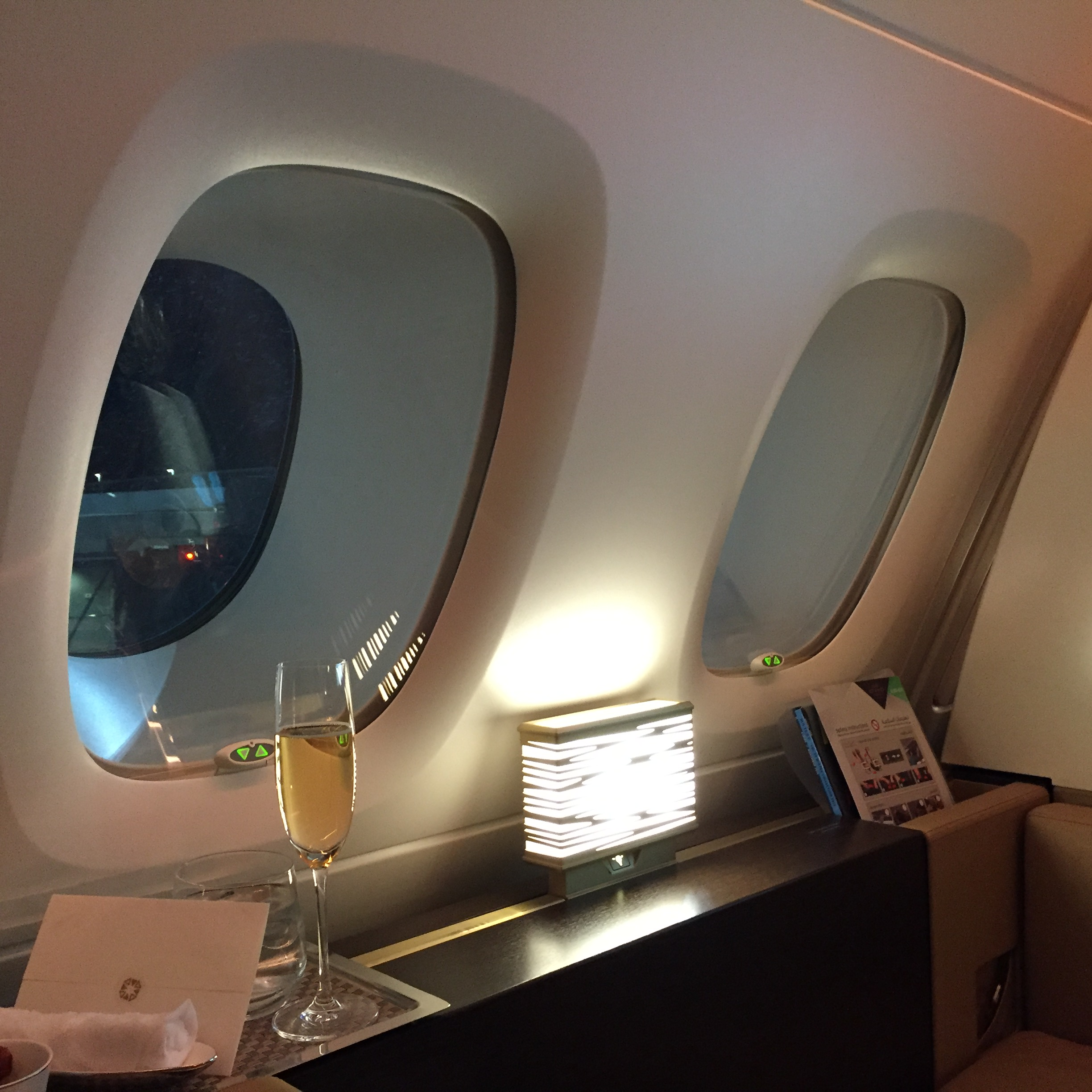 Etihad First Class A380 Apartment 4A windows