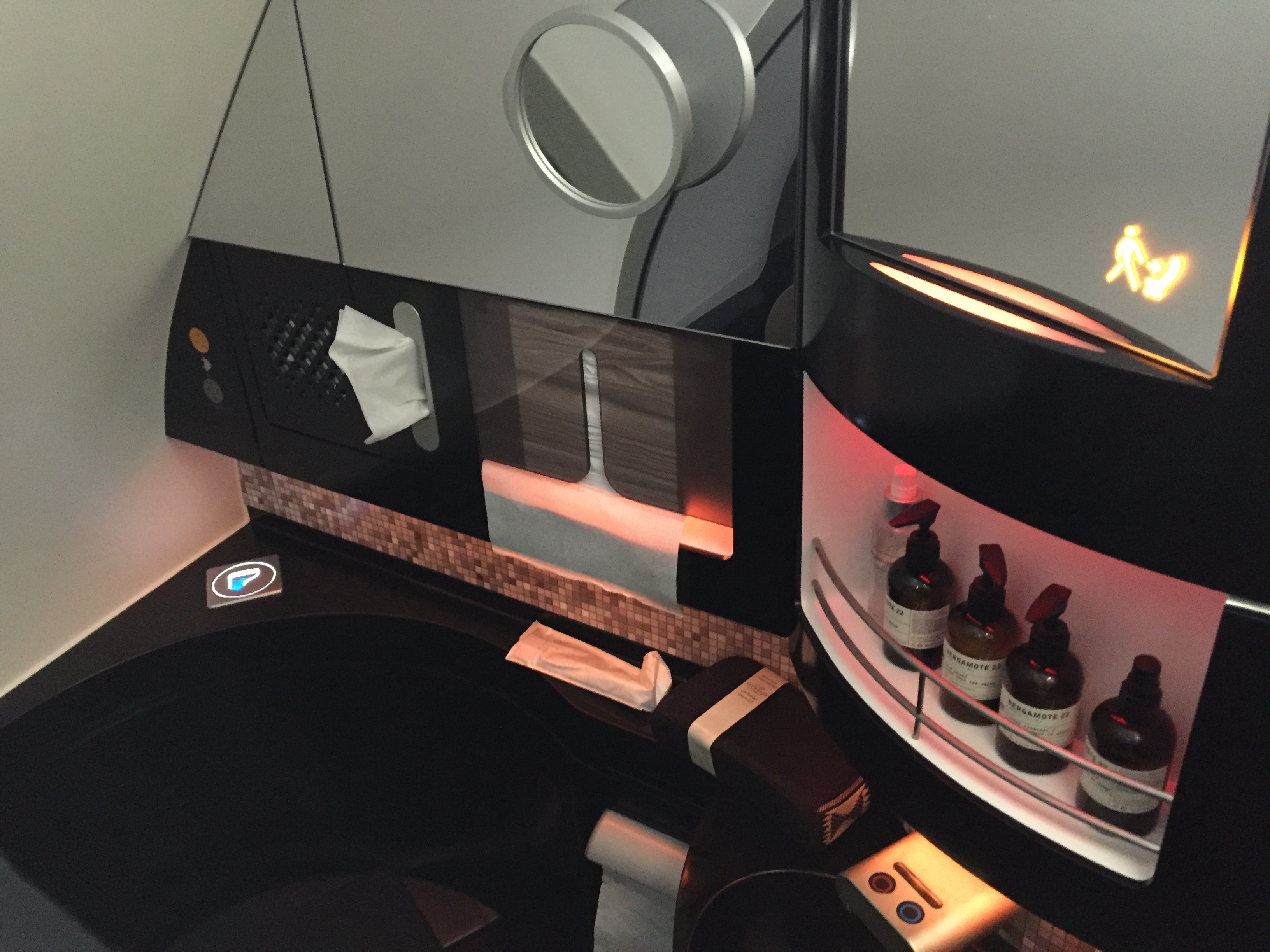 Etihad First Class A380 bathroom amenities
