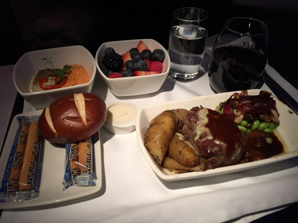 Cathay Pacific Business Class Dinner