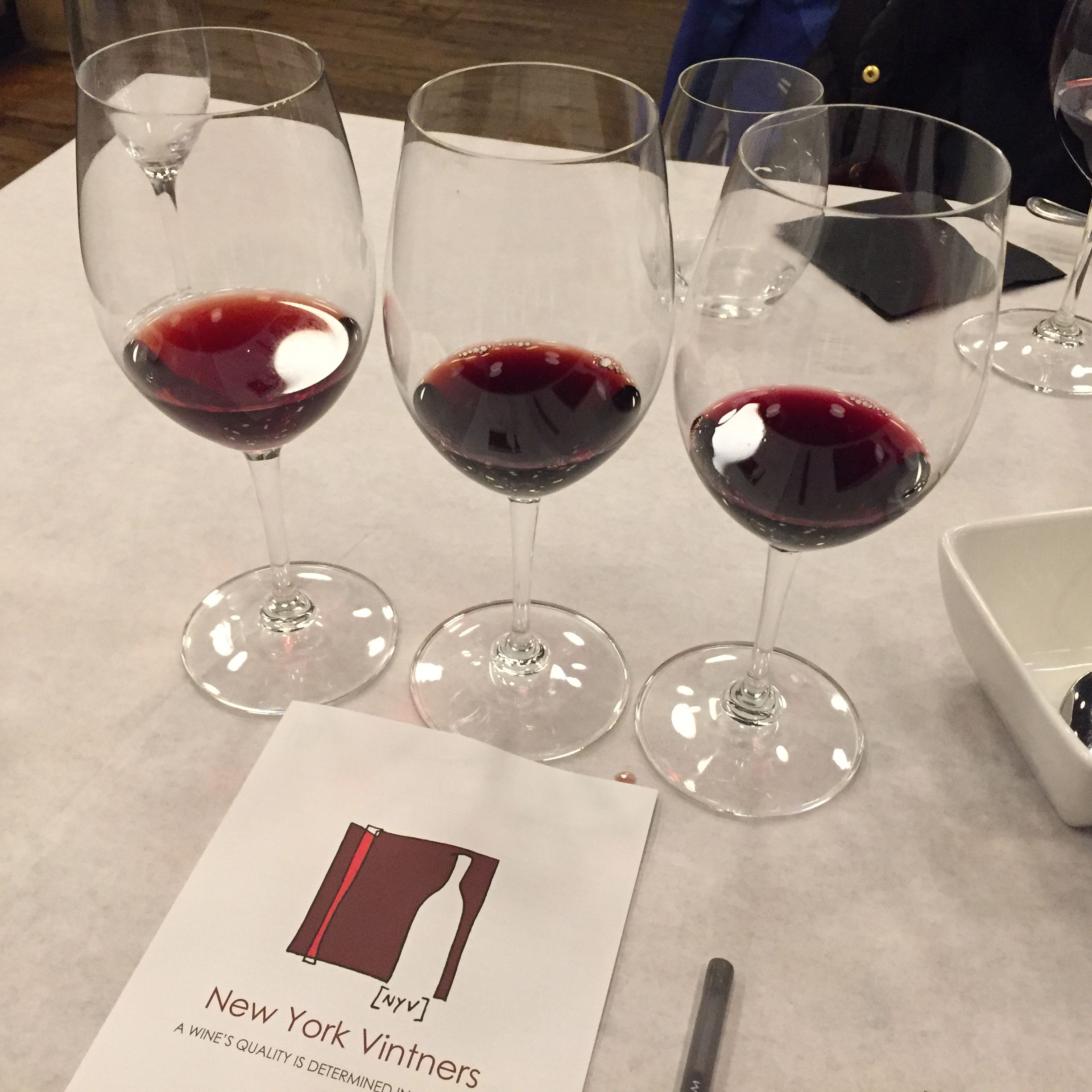 Sampling a few reds at New York Vintners