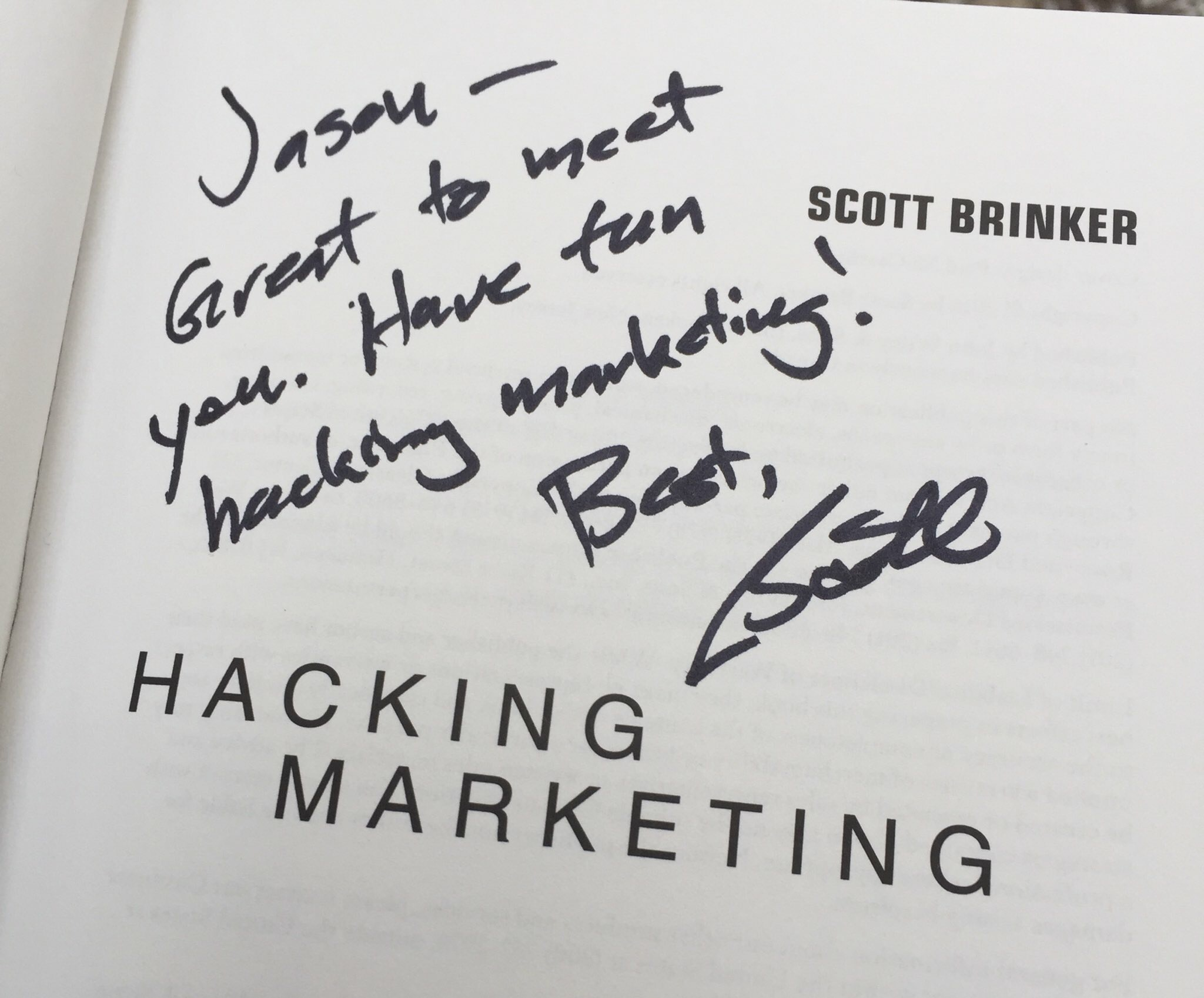 Signed book from one of my marketing technology sources of inspiration: Scott Brinker.