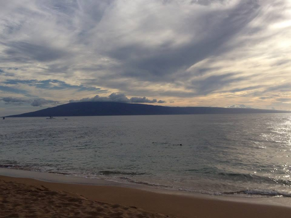 View of Lanai Island from Airport Beach.