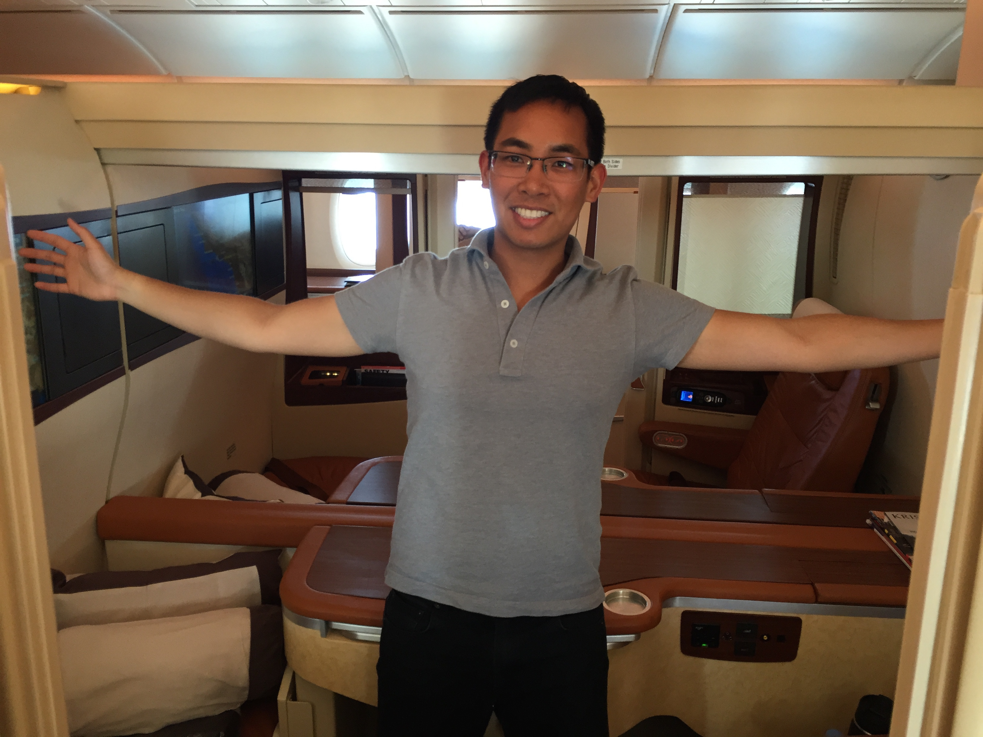 """My """"seat"""" in Singapore Airlines' Suites Class flight from L.A. to Tokyo."""