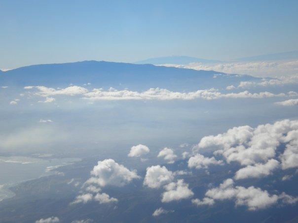 View of Mt. Haleakala. Mauna Kea on the island of Hawaii is off in the distance.