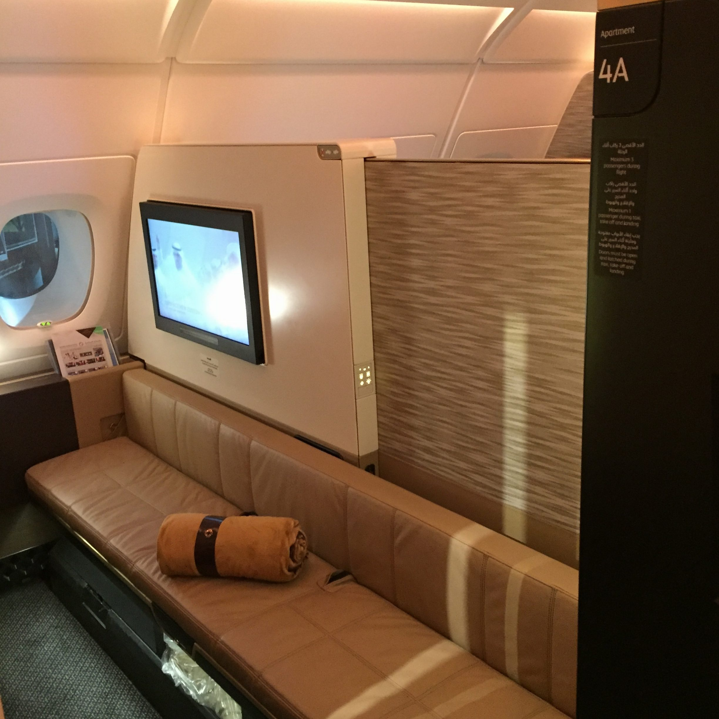 Etihad First Class A380 Apartment 4A couch