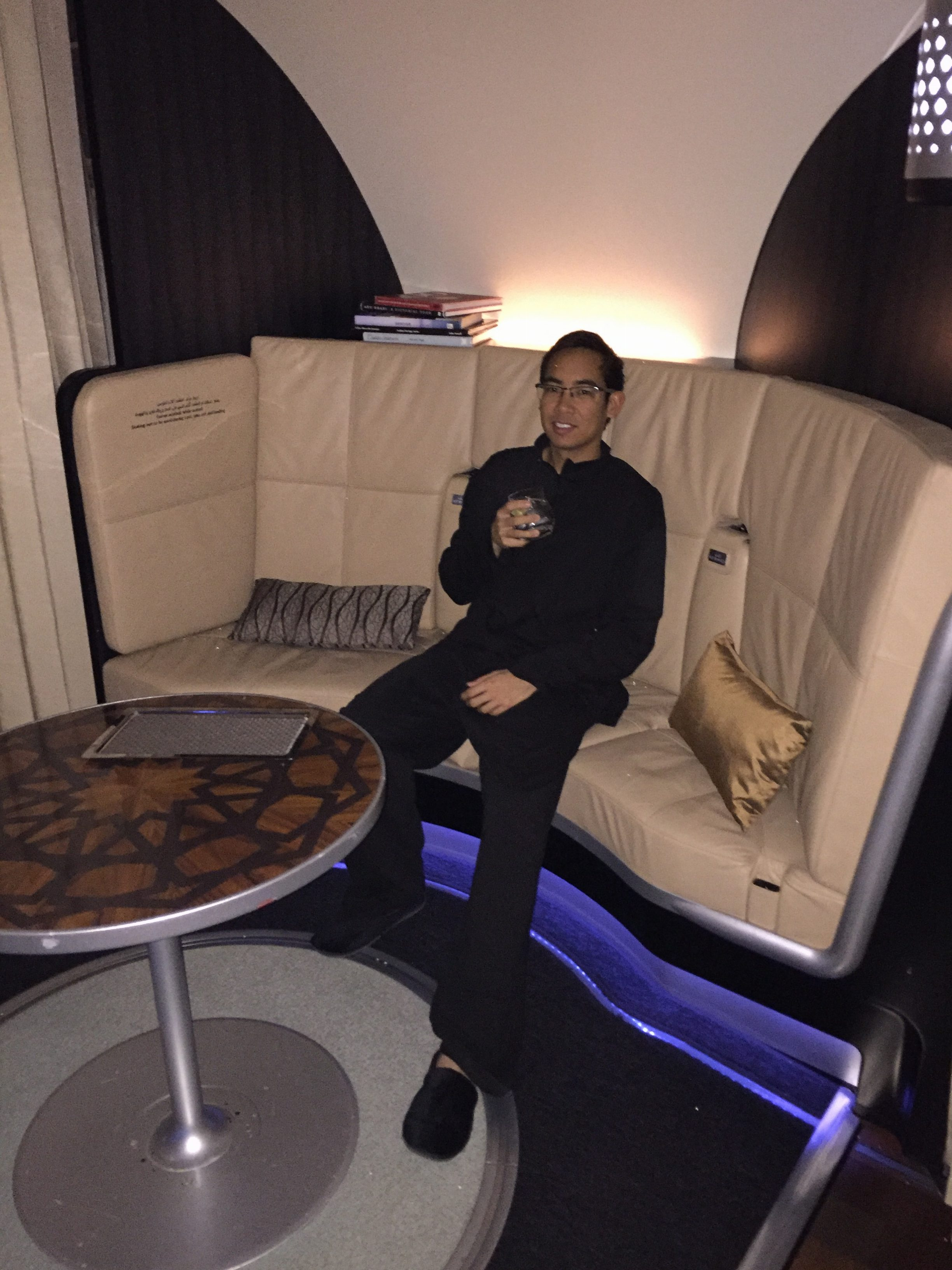 Having a drink in the shared on-board lounge